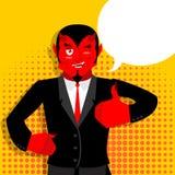 Satan räcker upp showtummar Tecken acceptabel Hand som OK visar ST stock illustrationer