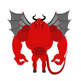 Satan. Red Devil with wings. Big and powerful demon. Bodybuilder Stock Photos