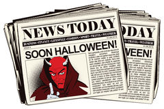 Satan reminds about Halloween. Stock illustration. People in retro style pop art and vintage advertising. Satan reminds about Halloween. Newspaper article Stock Photography