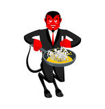 Satan roasts sinners in pan. Skeletons in boiling oil. hellish t. Orments. Devil attempts dead. Price paid for sins. Religious illustration Royalty Free Stock Photo