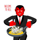 Satan roasts sinners in pan. Skeletons in boiling oil. hellish  Stock Photography