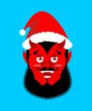 Satan Santa Krampus. Claus red demon with horns. Christmas monst Stock Image