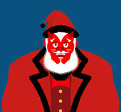 Satan Santa Krampus. Claus red demon with horns. Christmas monst Stock Photography