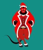 Satan Santa Krampus. Claus red demon with horns. Christmas monst Royalty Free Stock Photo