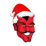 Satan Santa Krampus Démon rouge de Claus avec des klaxons Monst de Noël illustration de vecteur