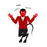 Satan talar OOPS Förvånat av demonen Röd jäkel förvirras Lu royaltyfri illustrationer