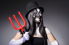 Satana kobieta z pitchfork Zdjęcia Royalty Free