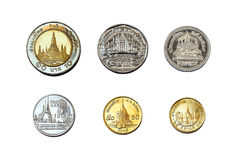 Satangs & baht (thailand coins) Royalty Free Stock Photo