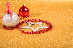 Satanic christmas. Card with pentagram and decor on glitter background Royalty Free Stock Photos