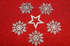 Satanic christmas. Card with pentagram on glitter background Royalty Free Stock Images
