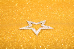 Satanic christmas. Card with pentagram on glitter background Royalty Free Stock Image