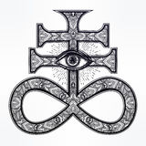 The Satanic Cross with evil eye, demon Leviathan. Royalty Free Stock Images