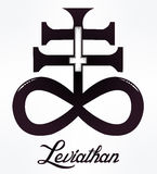 The Satanic Cross symbol illsutration. The Satanic Cross also known as the Leviathan cross, a variation of the alchemical symbol for Black Sulfur, that Stock Photography