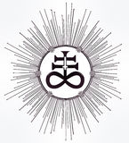 The Satanic Cross symbol illsutration. The Satanic Cross also known as the Leviathan cross, a variation of the alchemical symbol for Black Sulfur, that Royalty Free Stock Photography