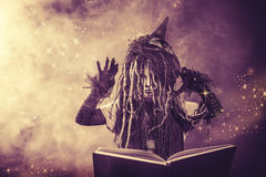 Satanic kid. Little girl in a costume of witch casts a spell over magic book. Black-and-white photo Stock Photography