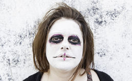 Satanic women. Satanic disturbed woman with mental problems Stock Image
