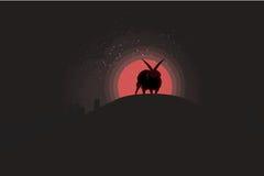 Sataniczni rogaci cakle podczas krwionośnej księżyc Fotografia Royalty Free
