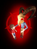 Satanist goat head character talks to youth about Satanism. Satanist with goat skull for a head talks to a young boy about Satanism. An upside down pentagram is Royalty Free Stock Images