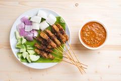 satay亚洲食家的鸡 免版税库存照片