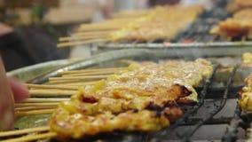satay泰国烹调的猪肉 股票视频