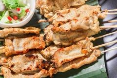 Satay猪肉泰国开胃菜 免版税库存照片