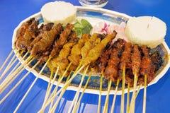 Satay鸡牛肉和羊肉 库存图片