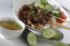 Satay. Traditional food from indonesia satay with soup Royalty Free Stock Photos