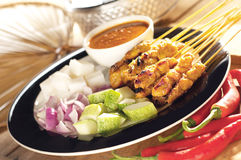 Satay. Asian delicious chicken satay skewers royalty free stock photography