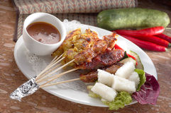 Satay. A plate of local satay royalty free stock image