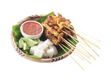 Satay. Asian delicious food satay skewers royalty free stock photos