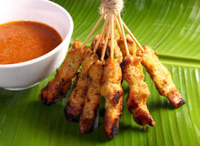 Satay. Malaysian chicken satay with delicious peanut sauce, one of famous local dishes royalty free stock image