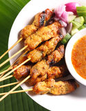 Satay. Malaysian chicken satay with delicious peanut sauce, one of famous local dishes royalty free stock photo