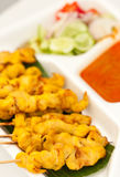 Satay, alimento tailandés del estilo Fotos de archivo