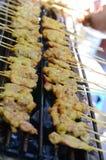 Satay asiatisk kebab Royaltyfri Bild