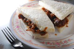 Satay beef sandwich. On dish Royalty Free Stock Images
