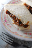 Satay beef sandwich. Bread on dish Royalty Free Stock Images