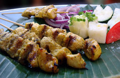 Satay on banana leave Royalty Free Stock Photo