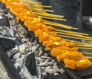 Satay chicken on grill. Fresh and hot satay chicken on grill Stock Photos