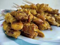 Chicken skewer. Satay or chicken skewer Stock Photography