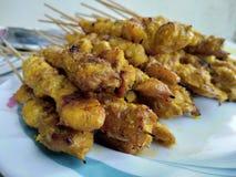 Chicken skewer. Satay or chicken skewer Royalty Free Stock Photos