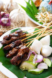 Satay daging. Satay or sate, skewered and grilled meat, served with peanut sauce, cucumber and ketupat. Traditional Malaysian food. Hot and spicy Malay dish royalty free stock images