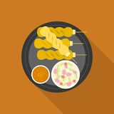 Satay. Grilled pork or meat with sauce, Thai and Indonesia food, flat design Stock Photo