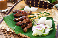 Satay ha grigliato la carne fotografia stock libera da diritti