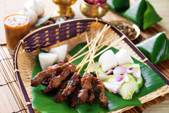Satay Indonesia food. Beef satay, roasted meat skewer Malay food. Traditional Indonesia food. Hot and spicy Indonesian dish, Asian cuisine royalty free stock images