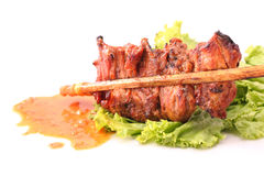 Satay is a Malay and Indonesian dish of grilled meat Stock Image