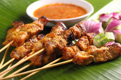 Satay. Malaysian chicken satay with delicious peanut sauce, one of famous local dishes stock photos