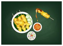Satay or Meat Barbecue Served with Peanut Sauce on Chalkboard. Cuisine and Food, Meat Barbecue Served with Peanut Sauce and Vegetable Salad Sauce on Chalkboard Stock Photography