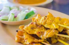 Satay mit Erdnuss-Soße Stockfotografie