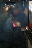 Satay no incêndio Imagem de Stock