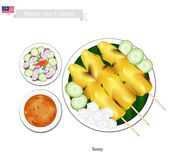 Satay Or Malaysian Style Barbecue Served With Peanut Sauce Royalty Free Stock Photography